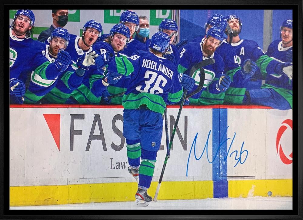 Nils Hoglander Signed 20x29 Canvas Framed Canucks Bench Celebration