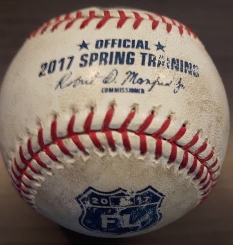 Photo of Authenticated Game Used Spring Training in Montreal Baseball - Josh Harrision Hit by Pitch against Francisco Liriano; Top 4 (April 1, 2017)