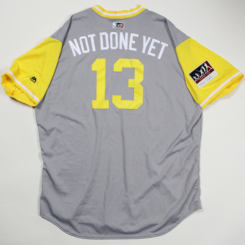 "Photo of Clint ""Not Done Yet"" Hurdle Pittsburgh Pirates Game-Used Jersey 2018 Players' Weekend Jersey"