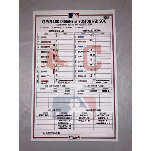 Photo of Indians at Red Sox - August 22, 2018 Game-Used Lineup Card - Red Sox Win 10 to 4