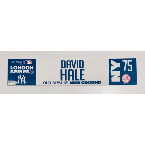 Photo of 2019 London Series - Game Used Locker Tag - David Hale, New York Yankees vs Boston Red Sox - 6/30/2019