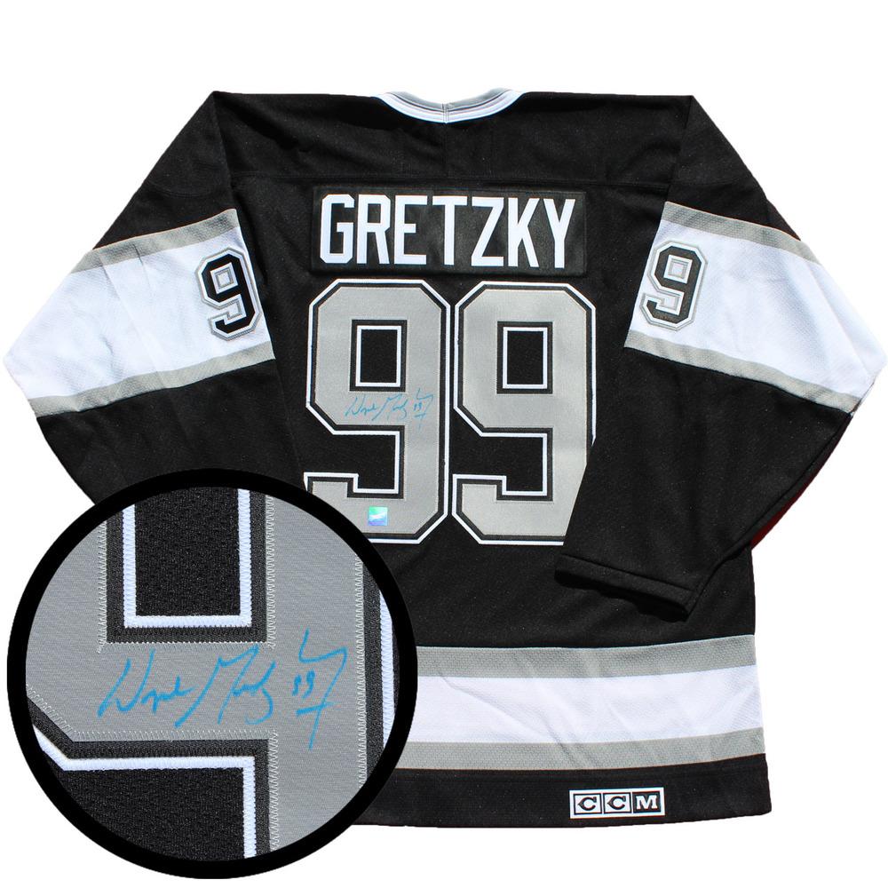 Wayne Gretzky Signed Jersey Kings Replica Black/Silver Vintage CCM