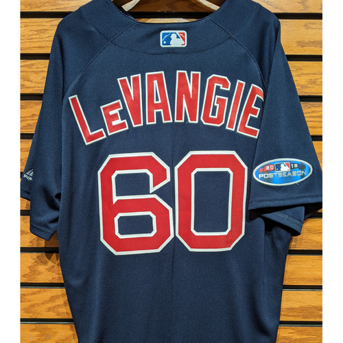 Photo of 2018 Postseason Coach Dana LeVangie #60 Team Issued Navy Road Alternate Jersey