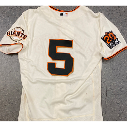Photo of 2020 Game Used Home Cream Jersey worn by #5 Mike Yastrzemski on 7/28 vs. SD - Home Opening Day (2-3, 2 B, 2 R, BB) - Size 42
