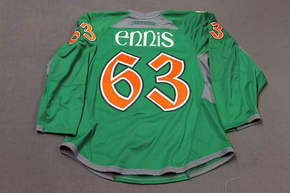 pretty nice 0c5db 532a8 Tyler Ennis Buffalo Sabres St. Patrick's Day Jersey. Worn on ...