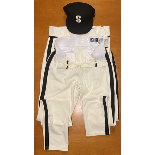 Photo of 2021 Game Used Seattle Steelheads Salute to Negro Leagues Cap and Team Issued Pants(2) - #33 Justus Sheffield