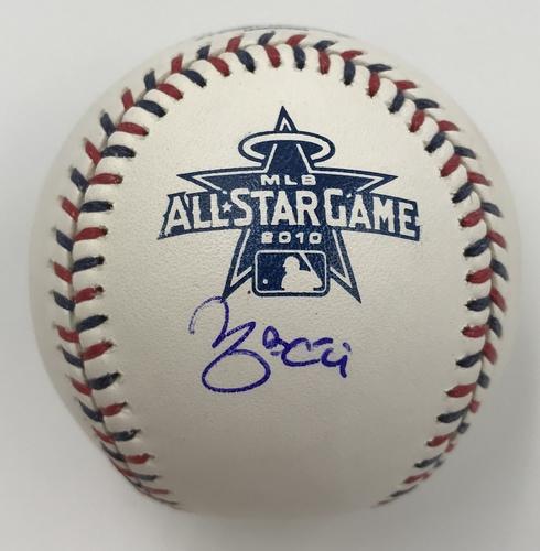 Photo of Yadier Molina Autographed 2010 All-Star Game Logo Baseball