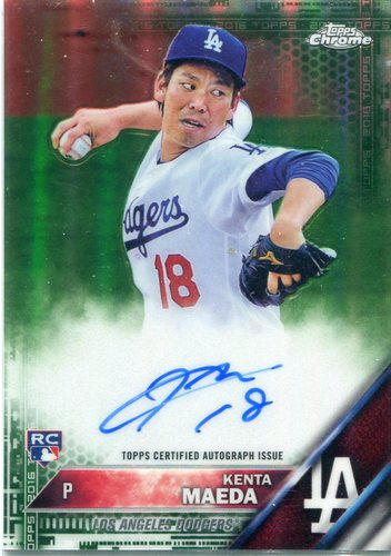 Photo of 2016 Topps Chrome Rookie Autographs Green Refractors 72/99  Kenta Maeda