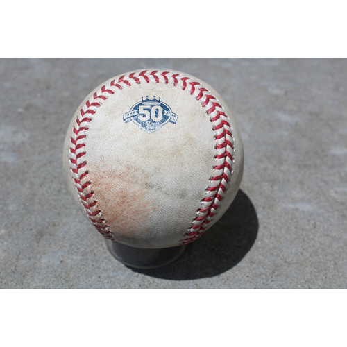 Photo of Game-Used Baseball: Manny Pina 121st Career Hit (MIL at KC - 4/25/18)