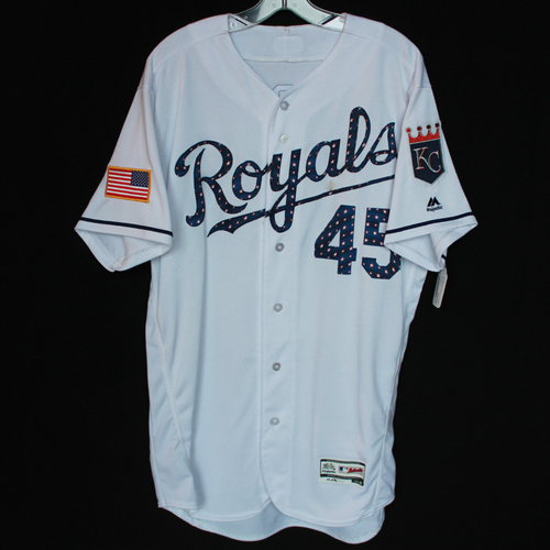 Photo of Game-Used Independence Day Game Jersey: Abraham Almonte (Size 46 - CLE @ KC - 7/4/18)
