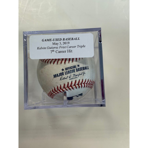 Photo of Game-Used Baseball: Kelvin Gutierrez 1st Career Triple