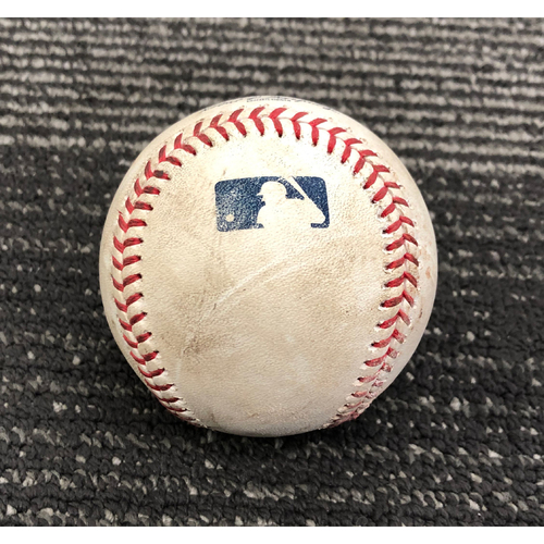 Photo of 2019 Game Used Baseball - 8/8/19 - SF vs PHI - T-7: Bumgarner to Hoskins - Groundout. Then, Harper Grounds Out to pitcher. Fouled off by Segura.