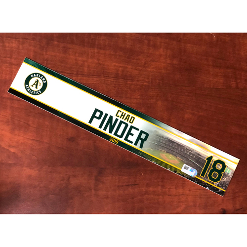 Photo of Team Issued: Chad Pinder 2019 Locker Nameplate