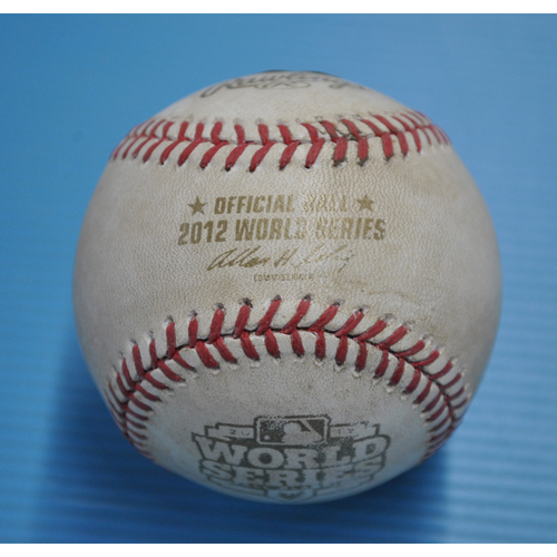 Photo of Game-Used Baseball - 2012 World Series - San Francisco Giants vs. Detroit Tigers - Batter - Brandon Belt, Pitcher - Phil Coke, Bottom of 8, Foul Tip - Game 2 - 10/25/2012