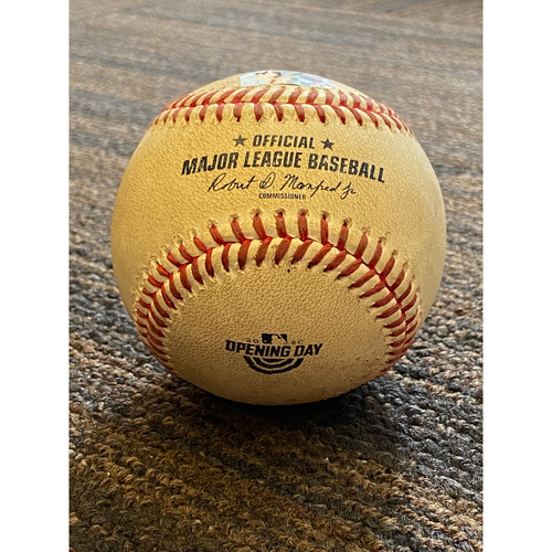 Photo of Game-Used Opening Day Baseball - New York Yankees at Baltimore Orioles (7/29/2020) - Batter - Giancarlo Stanton - Reaches on Catchers Interference