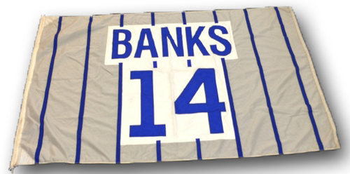 Photo of Wrigley Field Collection - Foul Pole Flag - Ernie Banks Retired Number Flag - 'Banks 14'