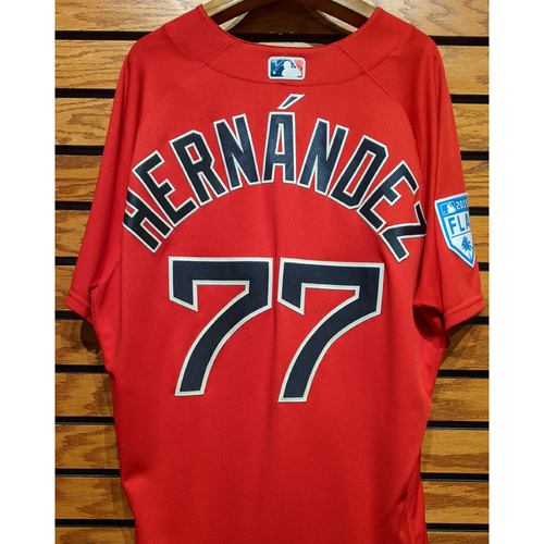 Photo of Oscar Hernandez #77 2019 Spring Training Team Issued Red Jersey