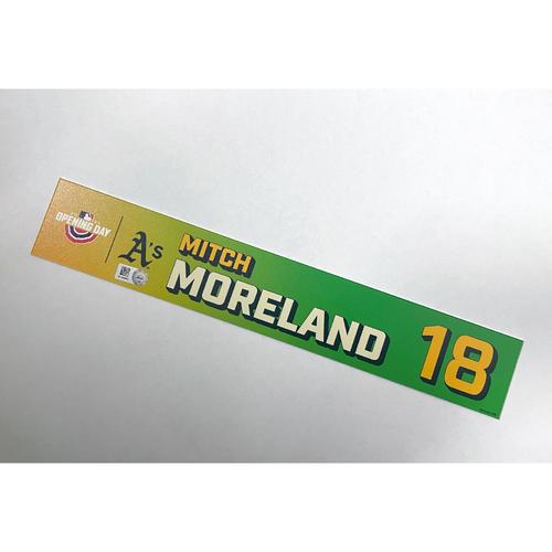 Photo of Game-Used 2021 Opening Day Locker Nameplate - Mitch Moreland