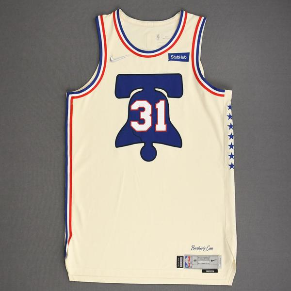 Image of Seth Curry - Philadelphia 76ers - Game-Worn Earned Edition Jersey - Scored 21 Points - 2020-21 NBA Season