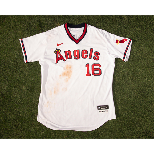 Photo of Brandon Marsh Game Used 70's Throwback Uniform (pants not pictured but are included), worn on 7/30/21 & 7/31/21 vs. OAK