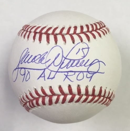"Photo of Sandy Alomar Jr. ""90 AL ROY"" Autographed Baseball"