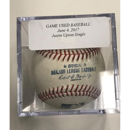Game-Used Baseball: Justin Upton Single