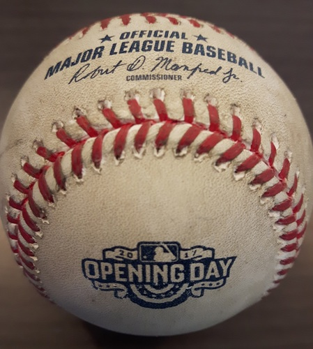 Photo of Authenticated Game Used Opening Day Baseball - Foul ball by Justin Smoak against Corey Knebel; Bottom 8 (April 11, 2017)
