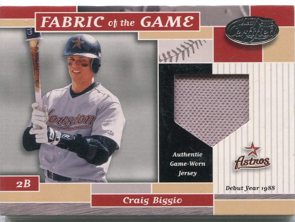 2002 Leaf Certified Fabric of the Game Craig Biggio jersey 60/88