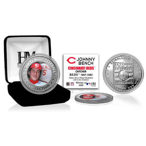 Photo of Johnny Bench Baseball Hall of Fame Silver Color Coin