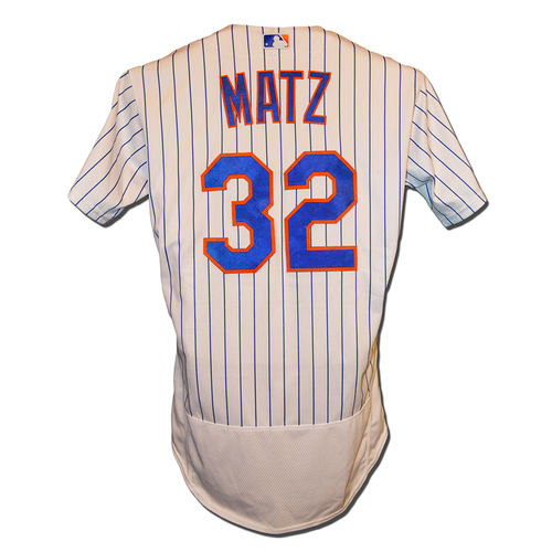 Steven Matz #32 - Game Used White Pinstripe Jersey - Matz 5 IP, 8 K's - Mets vs. Phillies - 9/7/18