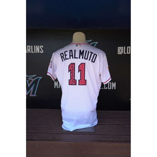 Photo of Game-Used Jersey - J.T. Realmuto 2018 Stars & Stripes Jersey - Size 48