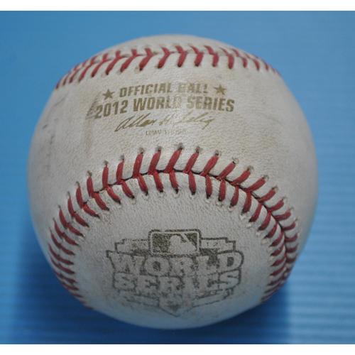 Photo of Game-Used Baseball - 2012 World Series - San Francisco Giants vs. Detroit Tigers - Batter - Prince Fielder, Pitcher - Ryan Vogelsong, Bottom of 4, Swinging Strike - Strike 1 - Game 3 - 10/27/2012