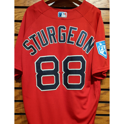 Photo of Cole Sturgeon #88 Team Issued 2019 Spring Training Red Jersey