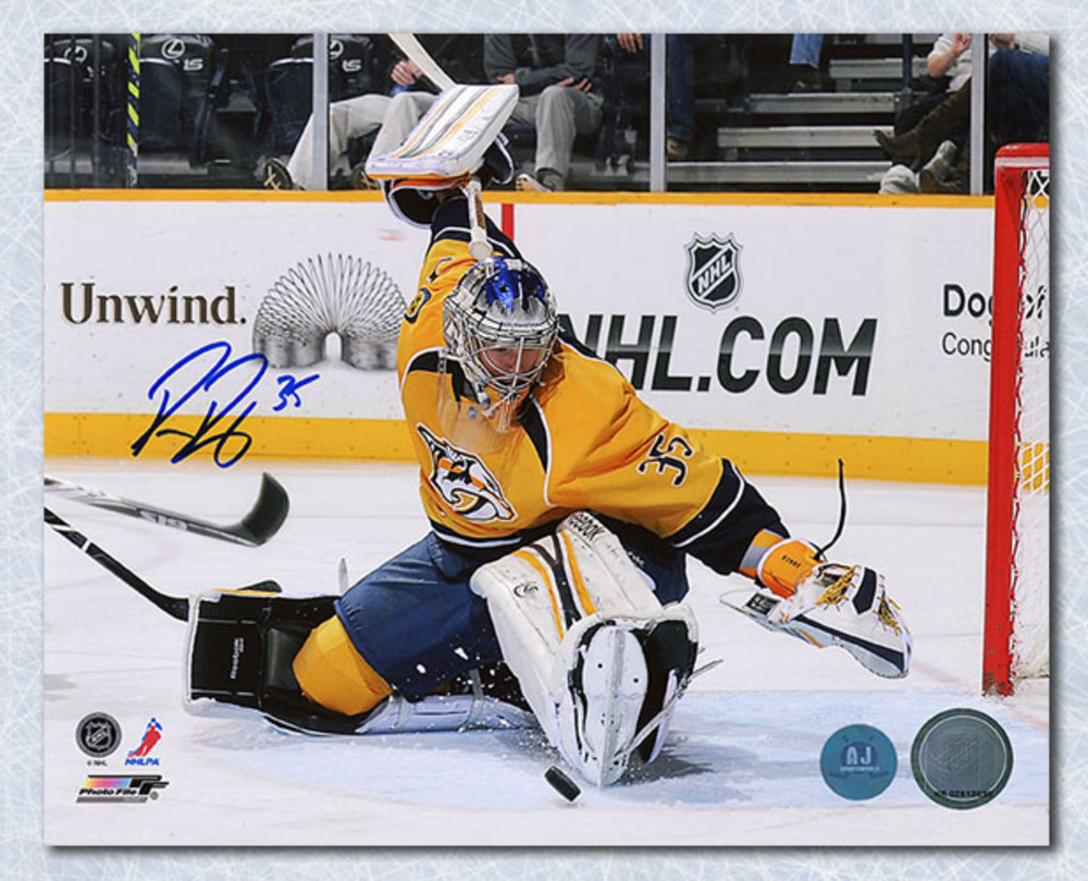 Pekka Rinne Nashville Predators Autographed Kick Save 8x10 Photo