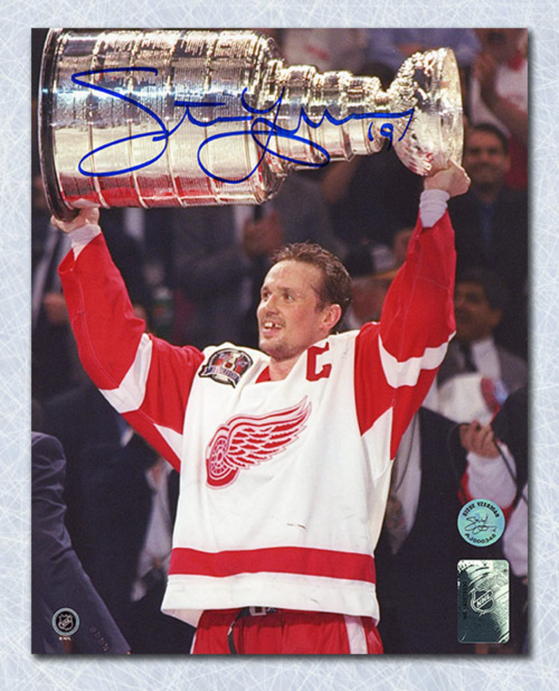 Steve Yzerman Detroit Red Wings Autographed 1997 Stanley Cup 8x10 Photo