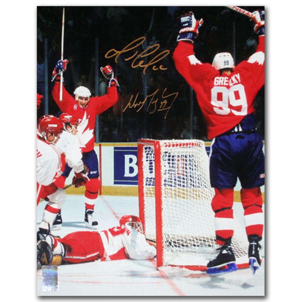 Wayne Gretzky & Mario Lemieux Autographed 1987 Canada Cup 11X14 Photo