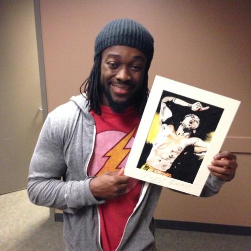 Kofi Kingston Signed Painting by Rob Schamberger