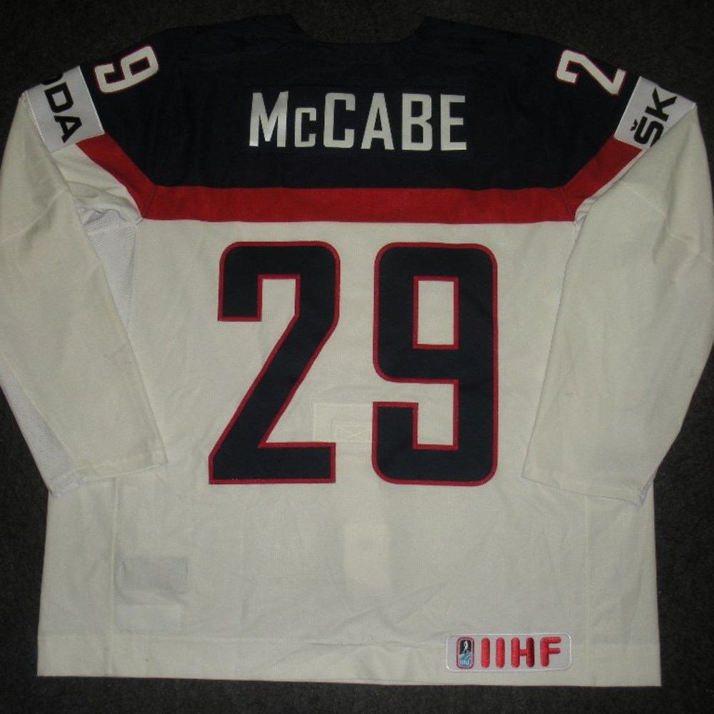 Jake McCabe - 2014 IIHF Mens World Championship - Team USA White Game-Worn Jersey - Worn on 5/9/14, 5/15/14 and 5/20/14
