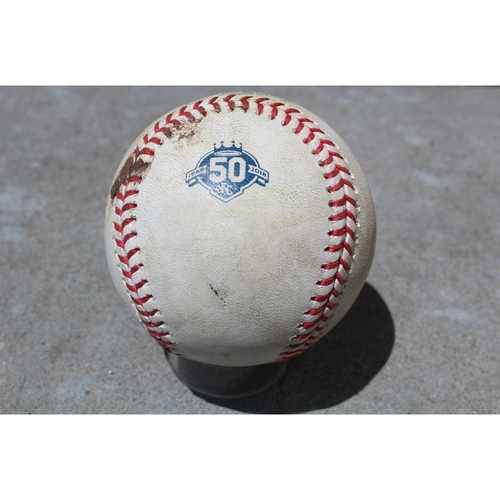 Photo of Game-Used Baseball: Luis Valbuena 69th Career Hit (LAA at KC - 4/12/18)