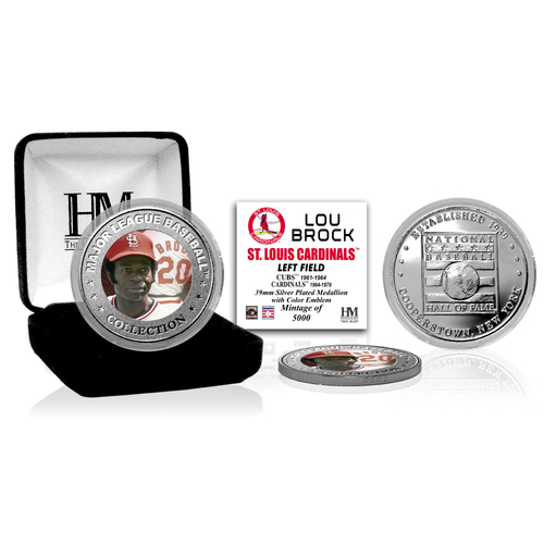 Photo of Lou Brock Baseball Hall of Fame Silver Color Coin