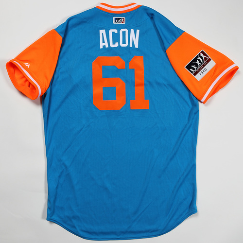 "Photo of Adam ""Acon"" Conley Miami Marlins Game-Used Jersey 2018 Players' Weekend Jersey"