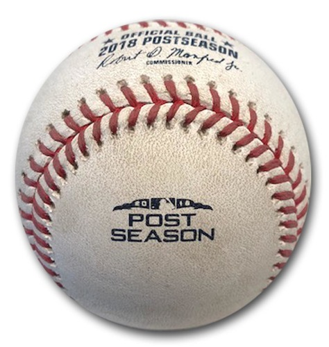 Photo of Game-Used Baseball -- Seung Hwan Oh to Javier Baez, Ball, Bot 11, 67.5 MPH Curveball -- 2018 N.L. Wild Card Game -- Rockies vs. Cubs -- 10/2/18