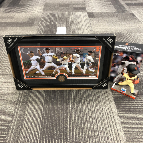 "Photo of San Francisco Giants World Series Champion Pitchers Frame & ""Let Pablo Pitch"" Bobblehead"