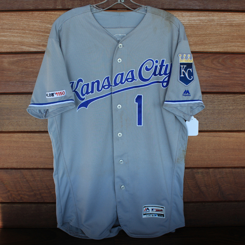 Photo of Game-Used Jersey: Nicky Lopez 52nd Career Hit (Size 44 - KC @ CLE - 7/19/19)
