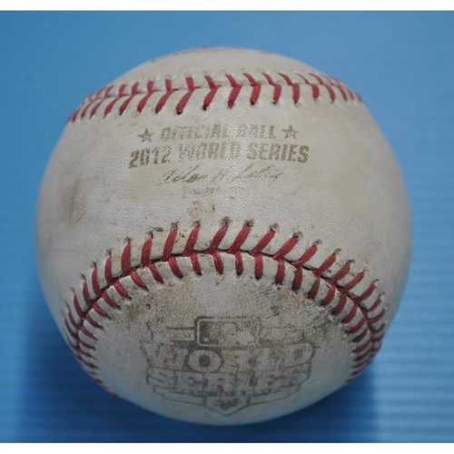Photo of Game-Used Baseball - 2012 World Series - San Francisco Giants vs. Detroit Tigers - Batter - Hunter Pence, Pitcher - Anibal Sanchez, Top of 6, Fouled Back to Screen - Game 3 - 10/27/2012