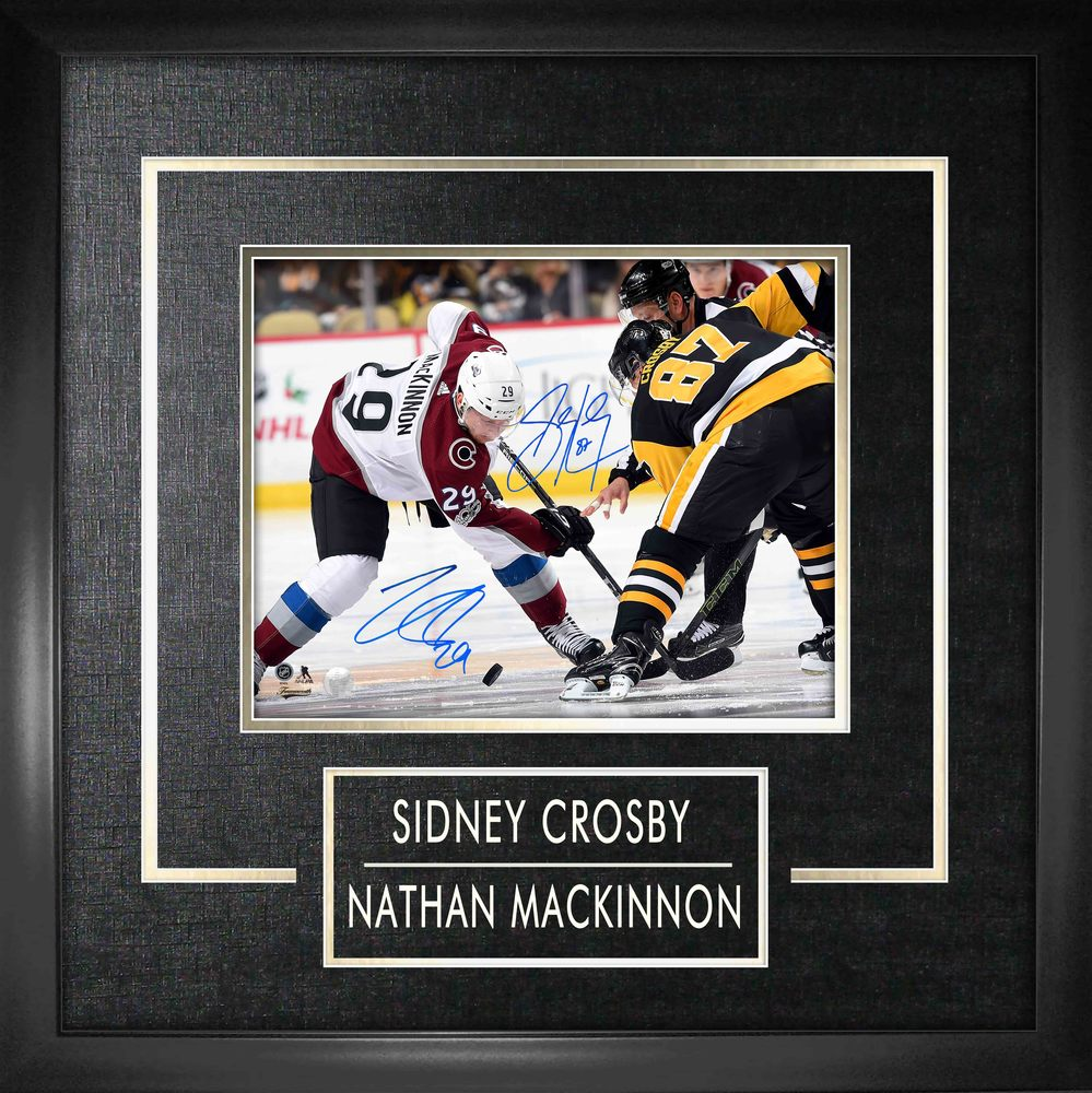 Sidney Crosby and Nathan MacKinnon Dual Signed 8x10 Etched Mat Faceoff