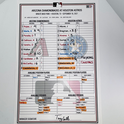 Photo of Game-Used Lineup Card - Lance McCullers Jr. vs. Humberto Castellanos - D-backs @ Astros 9/18/2021