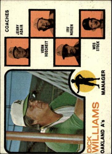 Photo of 1973 Topps #179A Dick Williams MG/Jerry Adair CO/Vern Hoscheit CO/Irv Noren CO/Wes Stock CO/Hoscheit