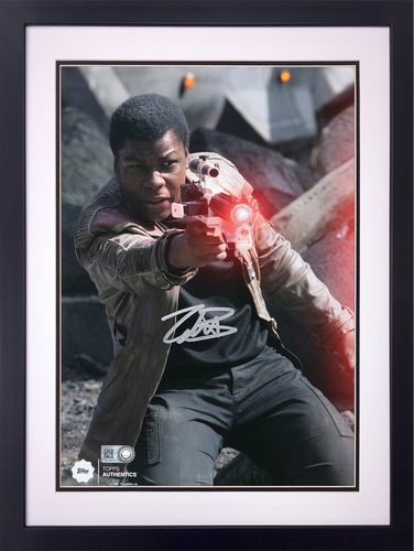 John Boyega as Finn at the Battle of Takodana Autographed in Silver Ink 16x20 Framed Photo