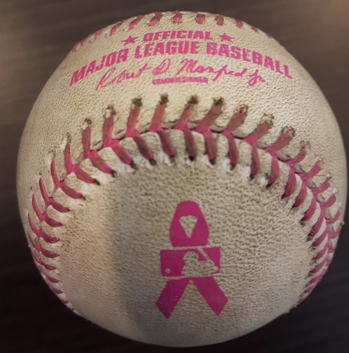 Photo of Authenticated Game Used Mother's Day Baseball - Strikeout by James Pazos against Kendrys Morales; Bottom 6 (May 14, 2017)